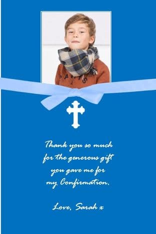 Personalised Blue Confirmation OR Commuion Bow Photo Thank You Card