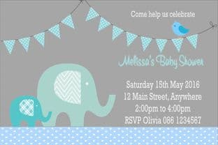 Personalised Blue Elephant Baby Shower Invitations