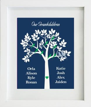 Personalised Blue Our/My Grandchildren Family Tree Print