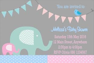 Personalised Blue & Pink Baby Shower Invitations