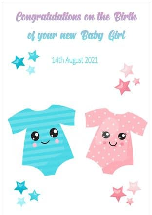 Personalised Blue & Pink Baby Vest Baby Twins Card