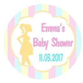 Personalised Blue Pink Lemon Stripe Baby Shower Party Stickers