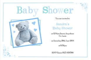 Personalised Blue Teddy Baby Shower Invitations
