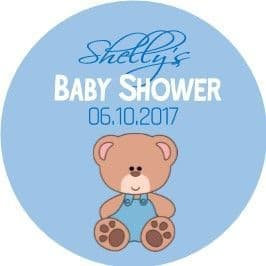 Personalised Blue Teddy Bear Baby Shower Party Stickers
