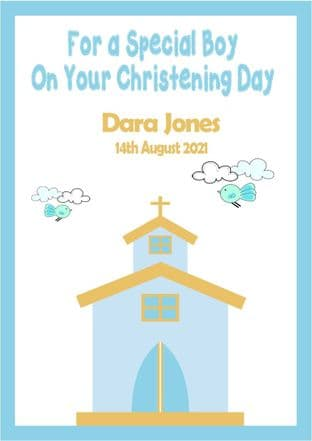 Personalised Blue Text Church Christening Card