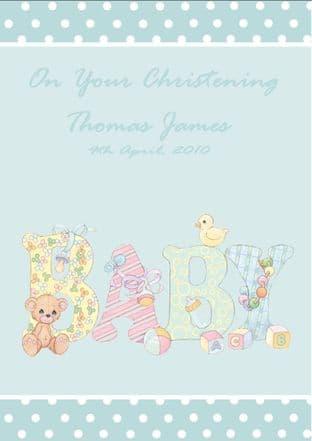 Personalised Boy Christening Card Design 2