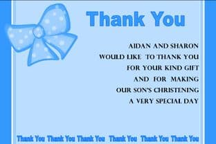 Personalised Boy Christening Thank You Cards Design 1