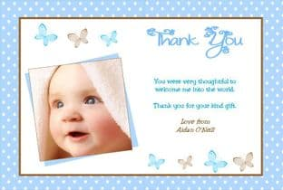 Personalised Boy Christening Thank You Cards Design 6