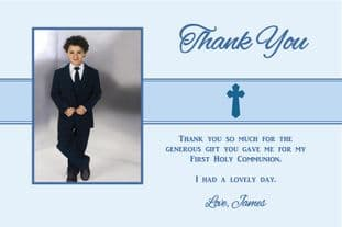 Personalised Boy Communion OR Confirmation Photo Thank You Card Design 2