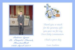 Personalised Boy Communion Thank You Card Design 1
