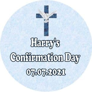 Personalised Boy Confirmation Stickers Design 1