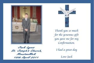 Personalised Boy Confirmation Thank You Card