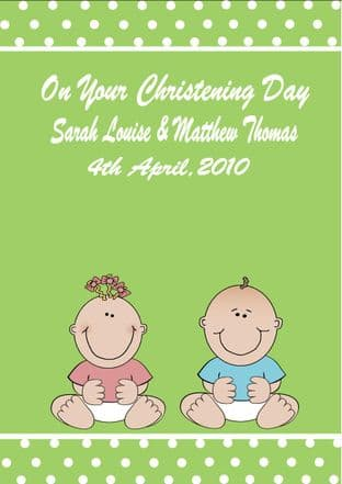Personalised Boy Girl Twins Christening Card (1)