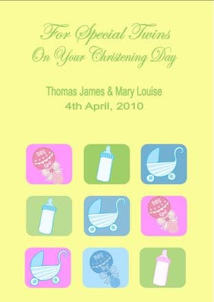 Personalised Boy Girl Twins Christening Card (2)