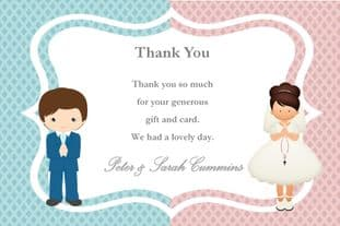 Personalised Boy Girl Twins Communion Thank You Cards