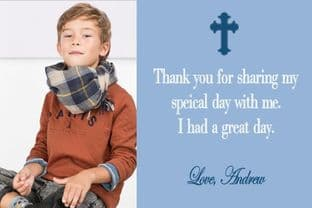 Personalised Boy Photo Confirmation OR Communion Thank You Card 3