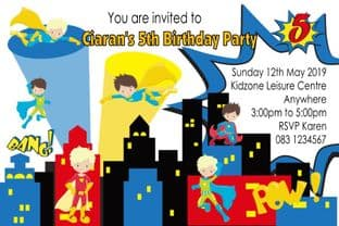 Personalised Boy Superhero Theme Invitations