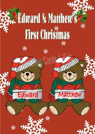 Personalised Boy Teddy Twins First Christmas Card