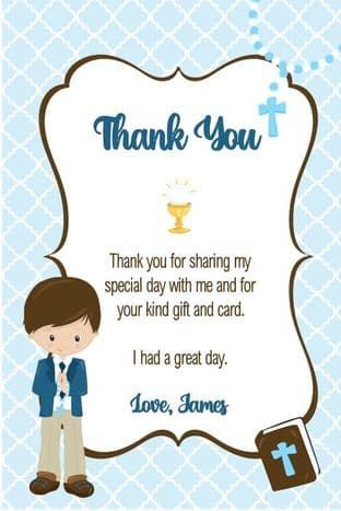 Personalised Boy Thank You Cards Boy & Bible Design