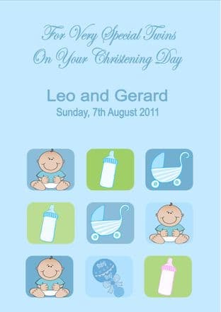 Personalised Boy Twins Christening Card