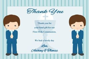 Personalised Boy Twins Communion Thank You Cards