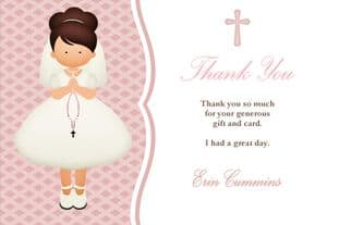 Personalised Brown Hair Girl Communion Thank You Cards