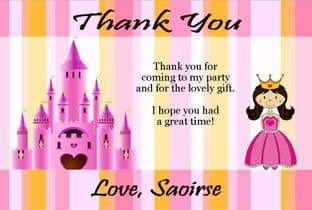 Personalised Candy Stripe Princess Thank You Card