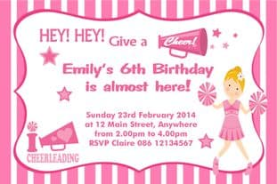 Personalised Cheerleader Theme Invitation Design 1