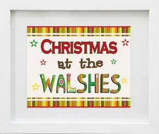 Personalised Christmas at the .... Family Name Print