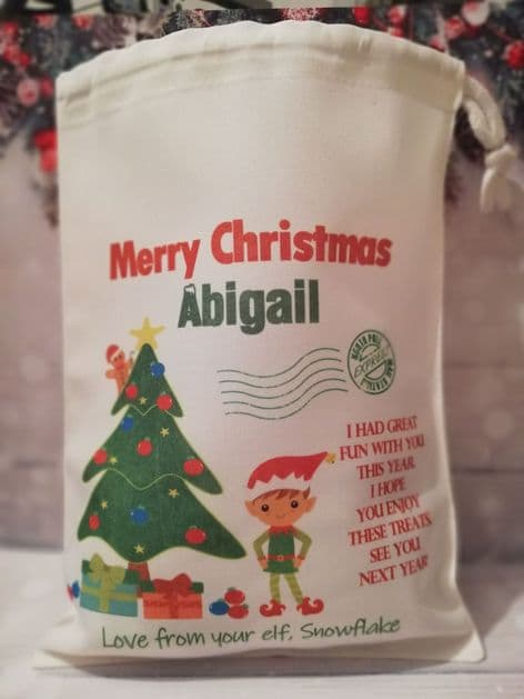 Personalised Christmas Eve Farewell Treat Bag from your Elf