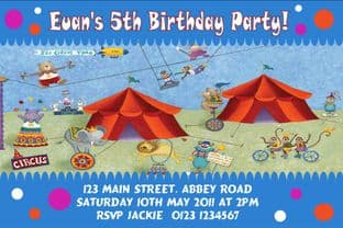 Personalised Circus Theme Invitations Design 2
