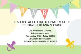 Personalised Coloured Bunting Baby Shower Invitation
