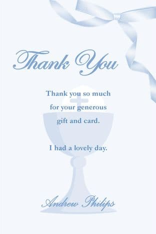 Personalised Communion Boy Thank You Cards Design 3