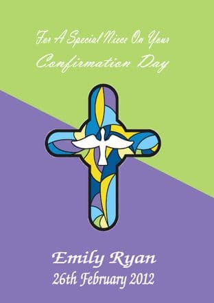 Personalised Confirmation Card Stained Glass Cross