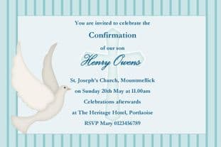 Personalised Confirmation Invitations Boy New Design 1