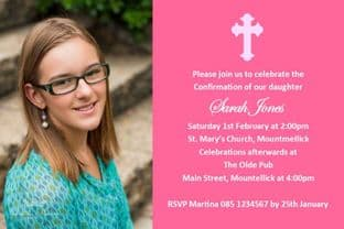 Personalised Confirmation Invitations Girl Photo 2