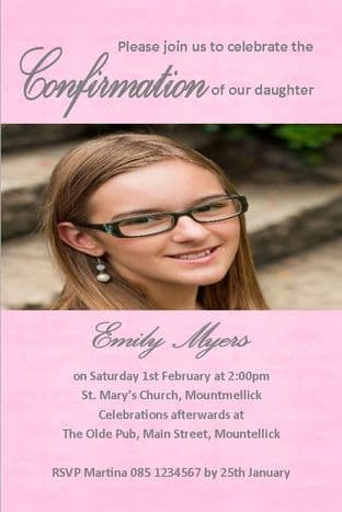 Personalised Confirmation Invitations Girl Photo