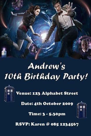 Personalised Doctor Who Invitations