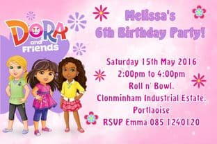 Personalised Dora and Friends Invitations