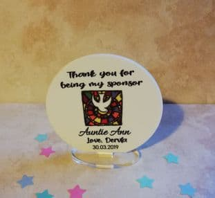Personalised Dove Thank you for being my Sponsor Standing Circle Plaque