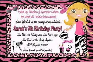 Personalised Dressing Up Fashion Make up Theme Invitation