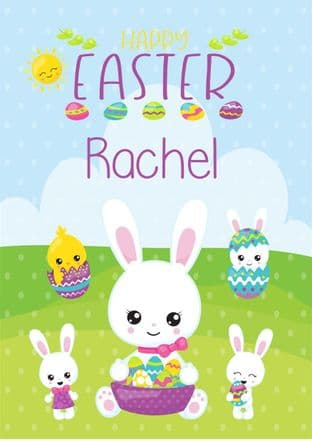 Personalised Easter Bunny & Chicks Easter Card
