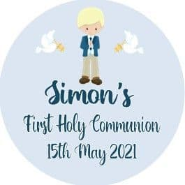Personalised Edible Blonde Hair Boy Communion Cake Topper 2