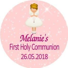 Personalised Edible Blonde Hair Girl Communion Cake Topper 1