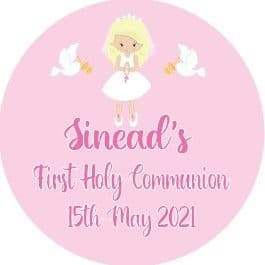 Personalised Edible Blonde Hair Girl Communion Cake Topper 2