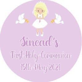 Personalised Edible Blonde Hair Girl Communion Cake Topper 3