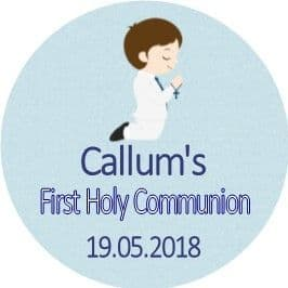 Personalised Edible Brown Hair Boy Communion Cake Topper 1