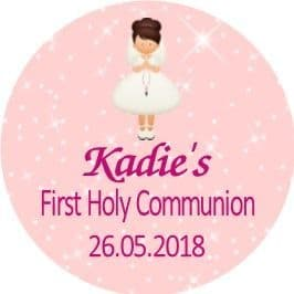 Personalised Edible Brown Hair Girl Communion Cake Topper 1
