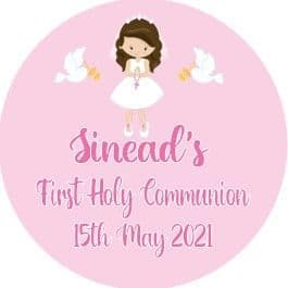 Personalised Edible Brown Hair Girl Communion Cake Topper 2