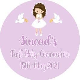 Personalised Edible Brown Hair Girl Communion Cake Topper 3